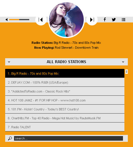 HTML 5 Radio Players WP Plugins Bundle - Radio Player Shoutcast & Icecast WordPress Plugin - black_with_playlist1