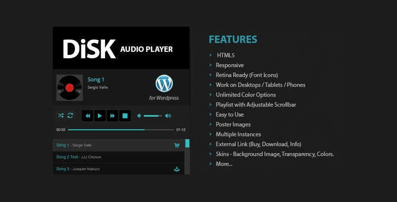 Disk Audio Player - HTML5 Audio Player WordPress Plugin