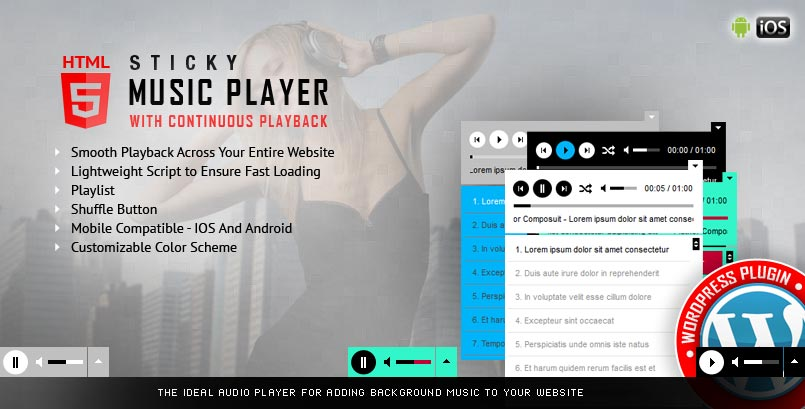 Sticky HTML5 Audio Player WordPress Plugin