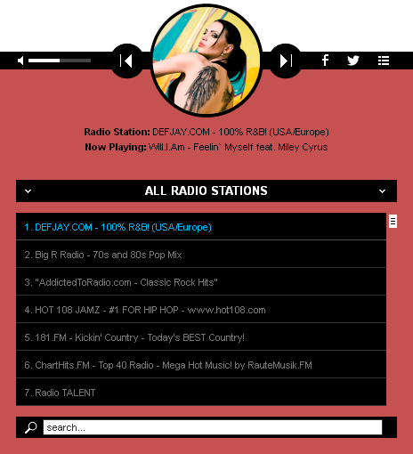 HTML 5 Radio Players WP Plugins Bundle - Radio Player Shoutcast & Icecast WordPress Plugin - white_with_playlist1