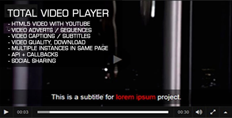 Total Video Player - a HTML5 Simple Video Player
