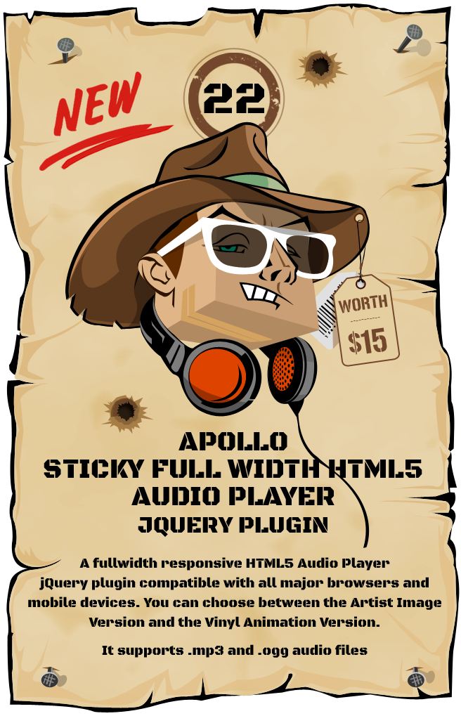 Apollo – Sticky Full Width HTML5 Audio Player jQuery Plugin