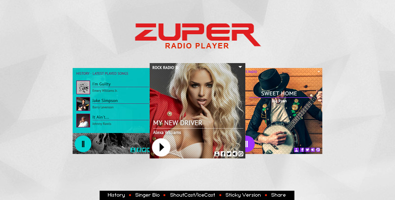 ZUPER RADIO - Shoutcast Icecast Radio Player With History - WP Plugin