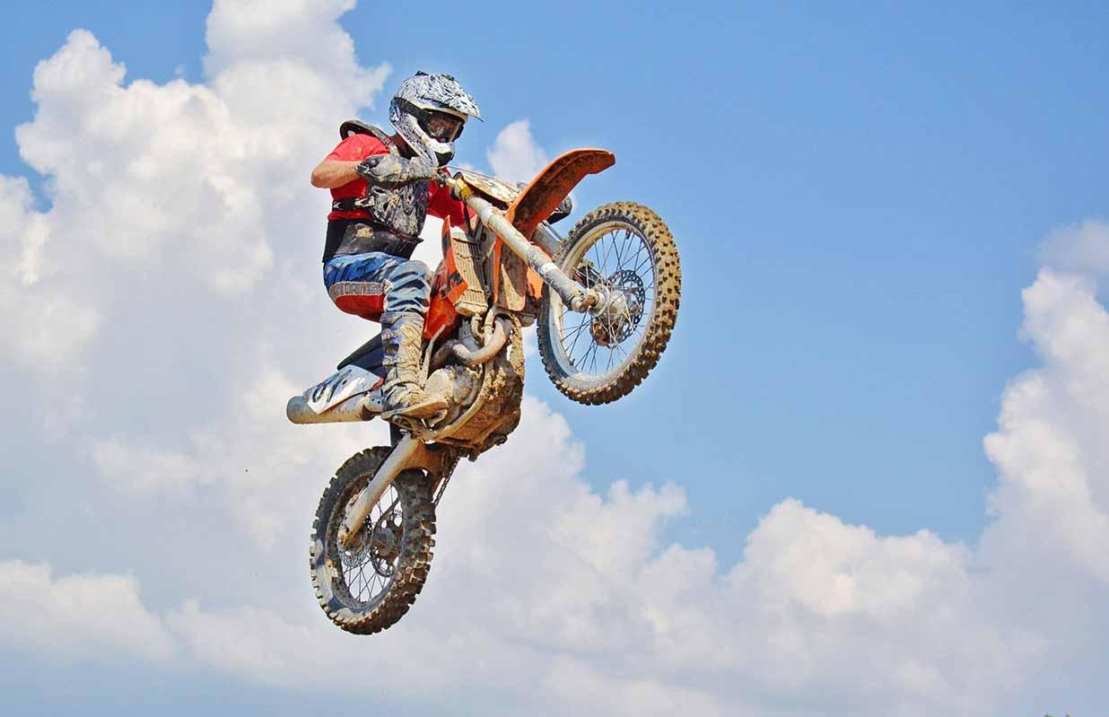 Motorcycle jump - near the sky