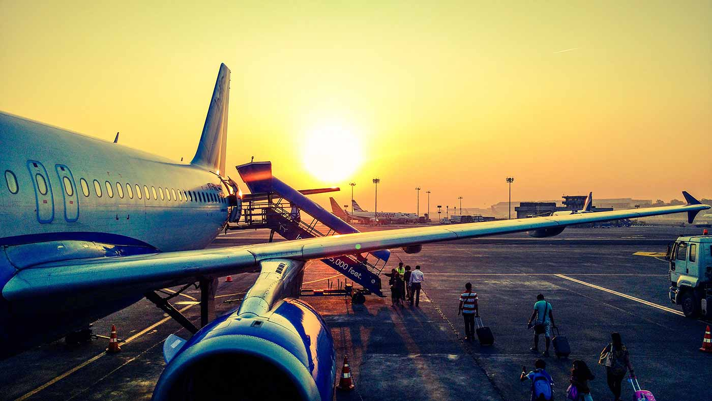 Embarking on the airplane - at sunrise