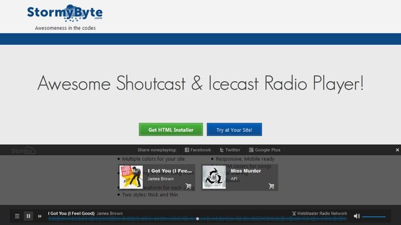 WP Radio Player — «Line-R» w/ AAC+