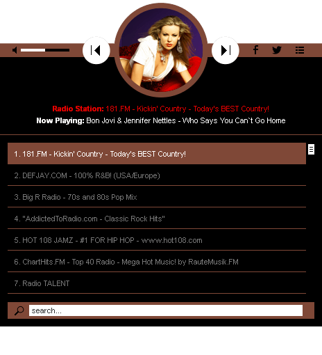 HTML 5 Radio Players jQuery Plugins Bundle - Radio Player Shoutcast & Icecast WordPress Plugin - black_with_playlist2