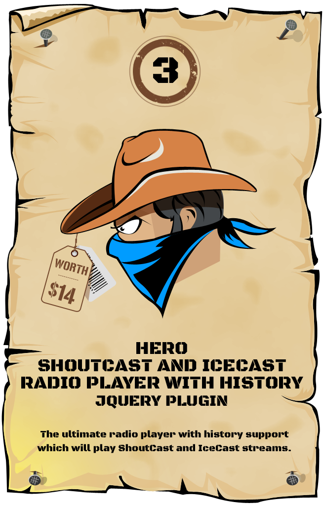 Hero - Shoutcast and Icecast Radio Player With History - jQuery Plugin