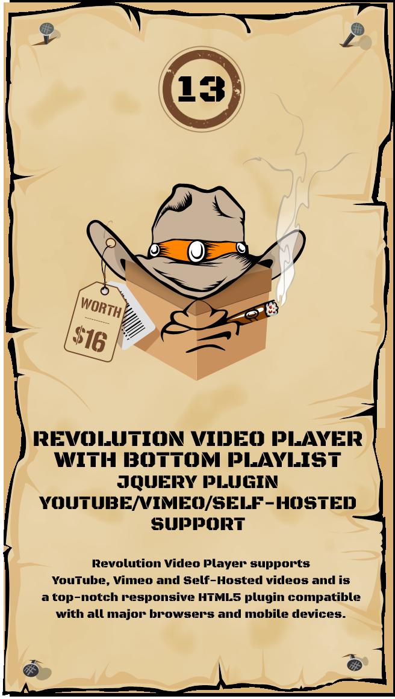 Revolution Video Player With Bottom Playlist - jQuery Plugin