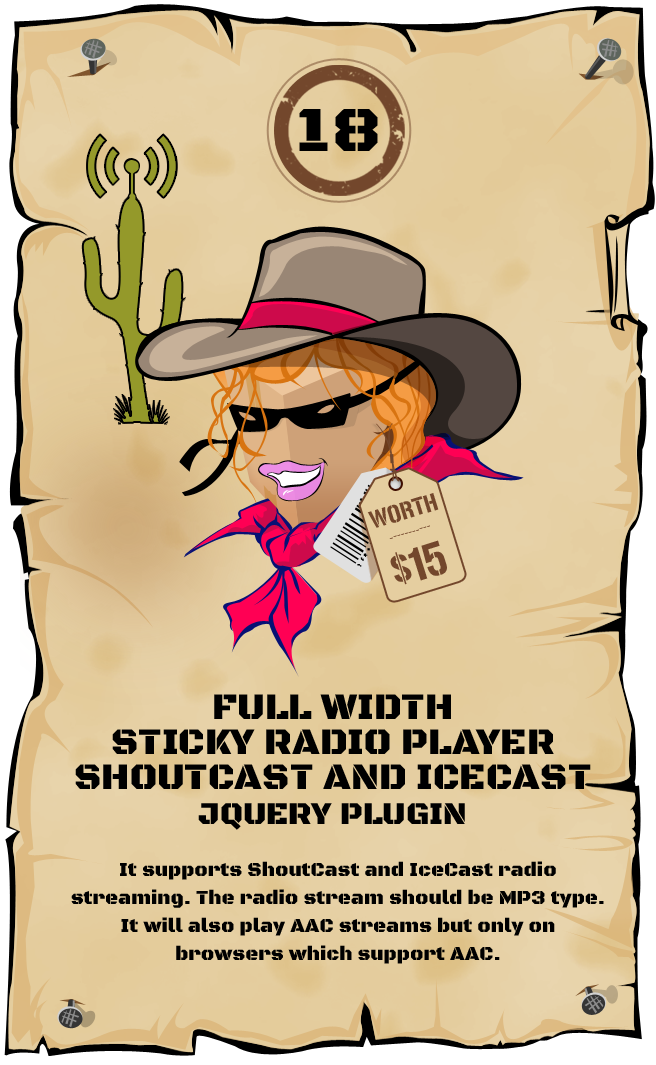 Full Width Sticky Radio Player - ShoutCast and IceCast Support jQuery Plugin