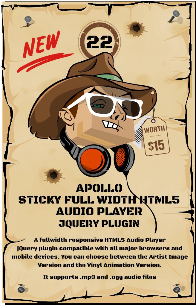 Apollo – Sticky Full Width HTML5 Audio Player jQuery Plugin