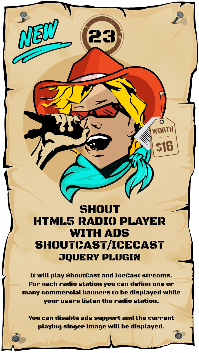 SHOUT HTML5 Radio Player With Ads - ShoutCast and IceCast Support - jQuery Plugin