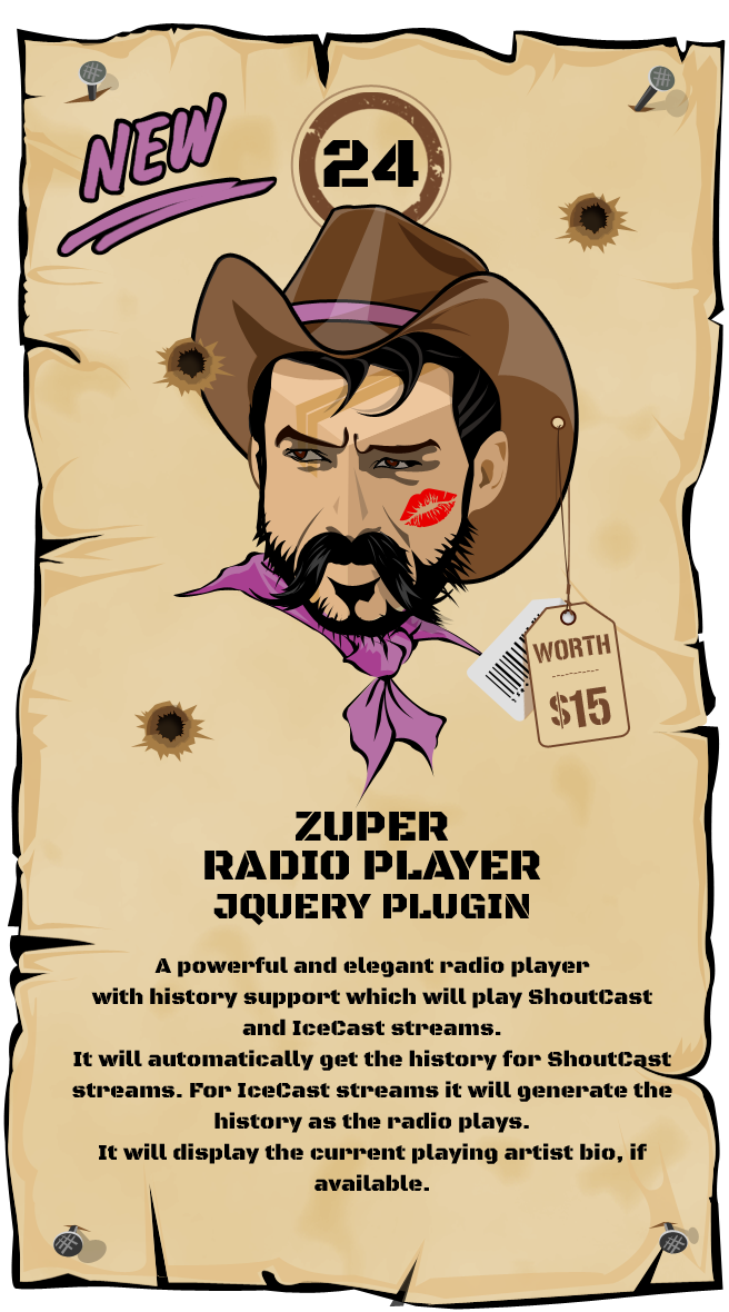 Zuper Radio Player - Shoutcast and Icecast Radio Player With History - jQuery Plugin