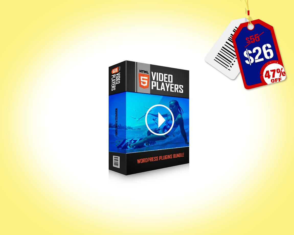 HTML5 Video Players WordPress Plugins Bundle - It contains 3 WordPress plugins which cover a vast area of video players, with support for Self-Hosted MP4, YouTube & Vimeo.
