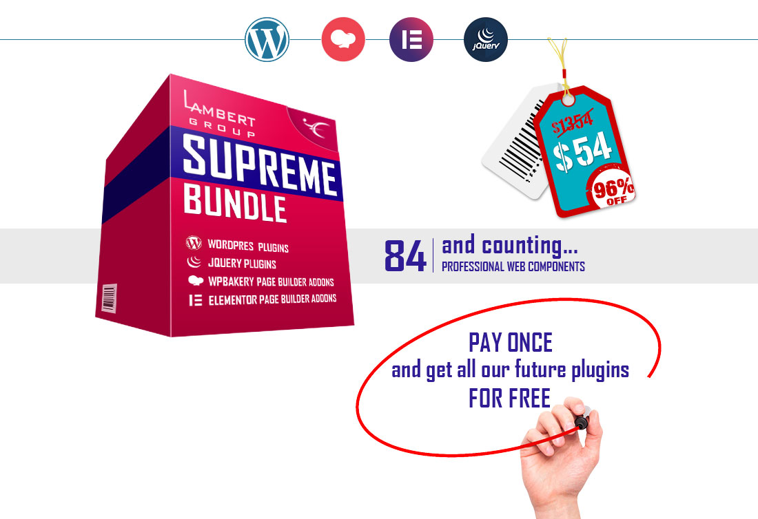Supreme-Bundle-84-Plugins-WordPress-WBakery-Elementor-jQuery