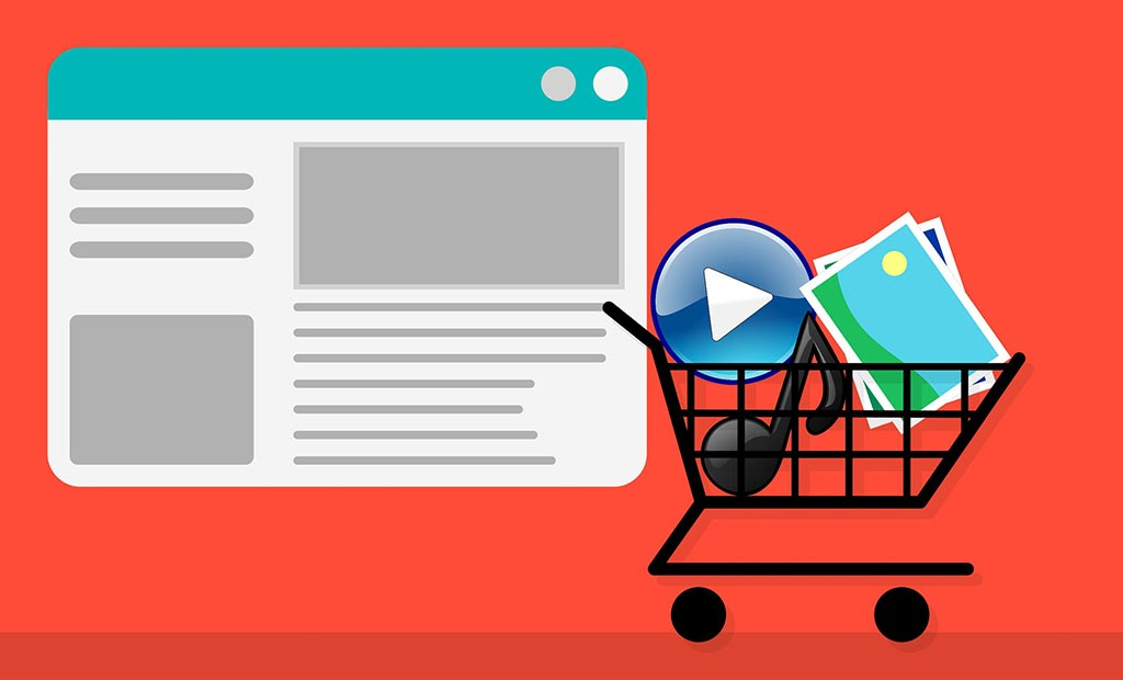 shopping cart with media files
