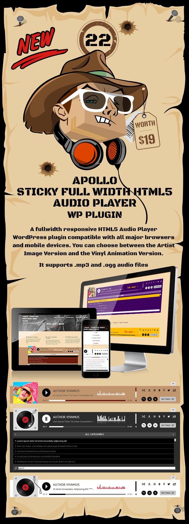 Apollo – Sticky Full Width HTML5 Audio Player WordPress Plugin